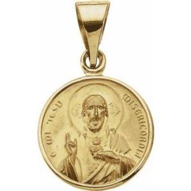 18K Yellow 13 mm Sacred Heart Medal