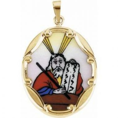 14K Yellow 25x19.5 mm Moses Hand-Painted Porcelain Medal