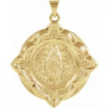 14K Yellow 31x31 mm Our Lady of Lourdes Medal