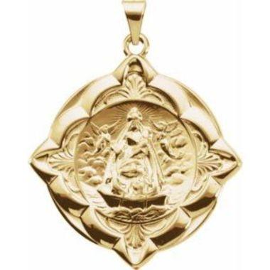 14K Yellow 31x31 mm Caridad del Cobre Medal