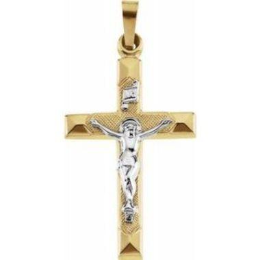 14K Yellow & White 25x17 mm Hollow Crucifix Pendant