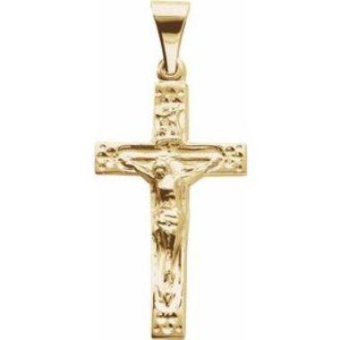14K Yellow 23.5x14 mm Crucifix Pendant