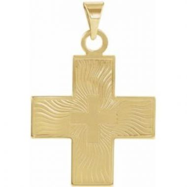 14K Yellow 20.5x18 mm Greek Cross Pendant