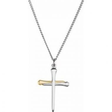 """14K Yellow Gold-Plated Sterling Silver Nail Cross 24"""" Necklace"""