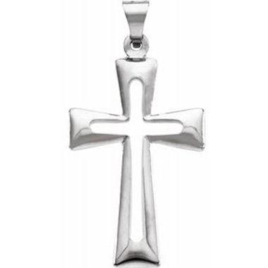 14K White 27.5x18 mm Cross Pendant