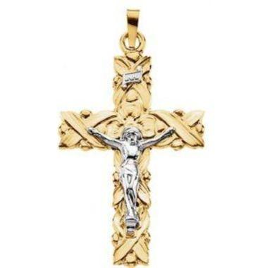 14K Yellow & White 34.5x23.5 mm Crucifix Pendant