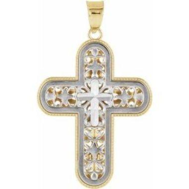 14K White & Yellow Reversible Cross Pendant
