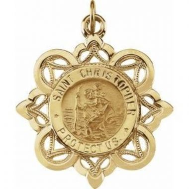 14K Yellow 28x26 mm St. Christopher Medal