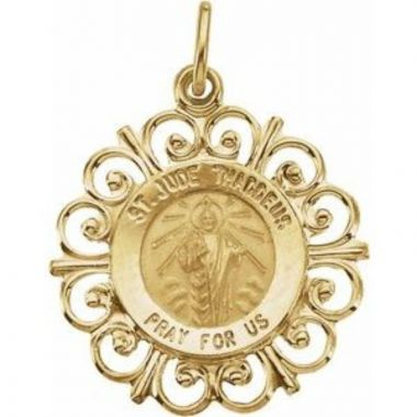 14K Yellow 18 mm St. Jude Medal