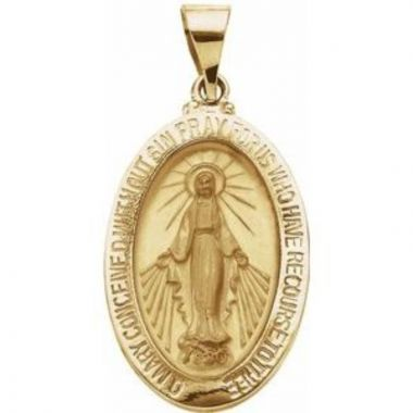 14K Yellow 23x16 mm Oval Hollow Miraculous Medal