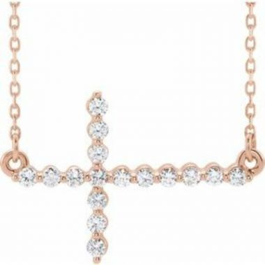 "14K Rose 1/3 CTW Diamond Sideways Cross 16-18"" Necklace"