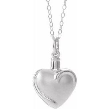 "Sterling Silver Heart Ash Holder 18"" Necklace"