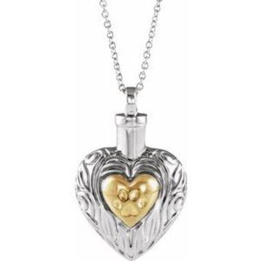 "Sterling Silver Pet Heart Ash Holder 18"" Necklace"