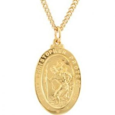"""24K Gold-Plated Sterling Silver 29x19 mm St. Christopher Medal 24"""" Necklace"""