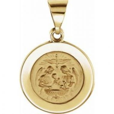 14K Yellow 14.75 mm Round Hollow Baptismal Medal
