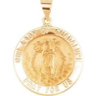 14K Yellow 22 mm Round Hollow Our Lady of Guadalupe Medal