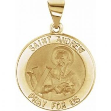 14K Yellow 18 mm Round Hollow St. Andrew Medal