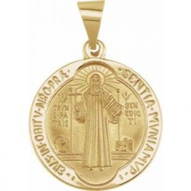 14K Yellow 18 mm Round Hollow St. Benedict Medal