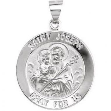 14K White 22 mm Round Hollow Joseph Medal