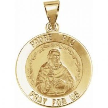 14K Yellow 18 mm Round Hollow Padre Pio Medal