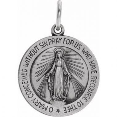 Sterling Silver 18 mm Miraculous Medal