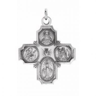 Sterling Silver 30x29 mm Four-Way Cross Medal