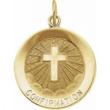14K Yellow 15 mm Confirmation Medal with Cross