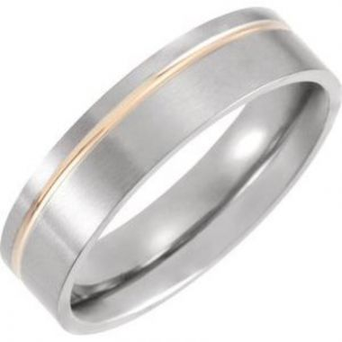 Titanium & 18K Rose Gold PVD 6 mm Grooved Band Size 7