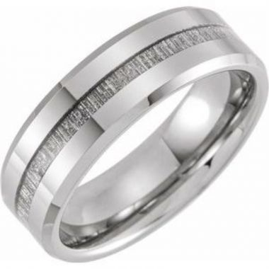 Tungsten 8 mm Beveled-Edge Band with Imitation Meteorite Inlay Size 7